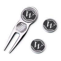 "Lillian Rose™ Black Band Monogram Letter ""W"" Divot Tool and Markers Set"