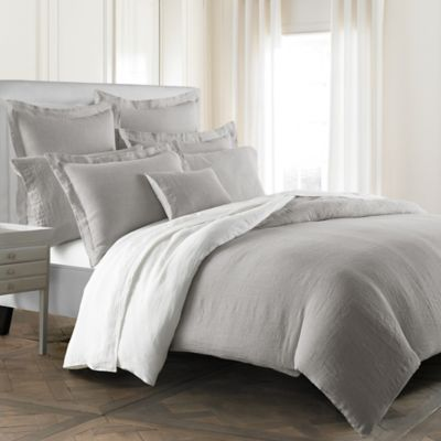 kassatex lino reversible queen duvet cover in greywhite