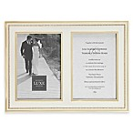 Reed & Barton Luxe Collection 5-Inch x 7-Inch Facets Double Picture Frame in White/Gold