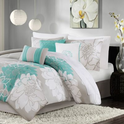 madison park lola 7piece queen comforter set in aqua - California King Bed Sheets