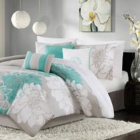 Madison Park Lola King/California King Duvet Cover Set in Aqua