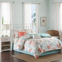 Madison Park Pebble Beach 7-Piece Cal King Cotton Sateen Printed Comforter Bedding Set in Coral