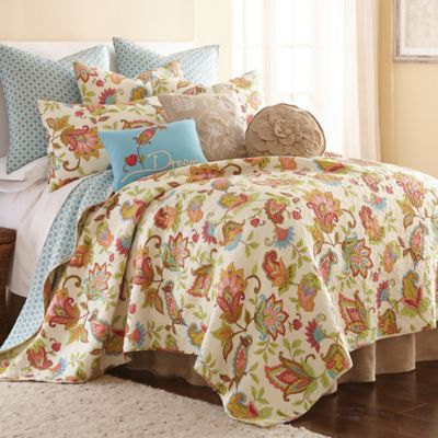levtex home ansley reversible king quilt set in creamred