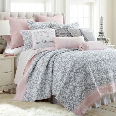 levtex home margaux reversible twin quilt set in greypink - Twin Quilts
