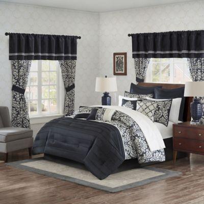 madison park essentials dominique 24piece queen complete comforter set in black - Black Queen Bed