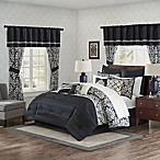 Madison Park Essentials Dominique 24-Piece Queen Complete Comforter Set in Black