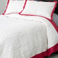 Nottingham Home Collection Lydia 3-Piece Embroidered Twin Quilt Set in White/Pink