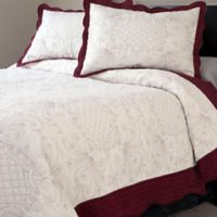 Nottingham Home Collection Juliette Embroidered King Quilt Set in White/Red