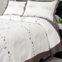 Nottingham Home Collection Athena Embroidered Twin Quilt Set in White/Brown