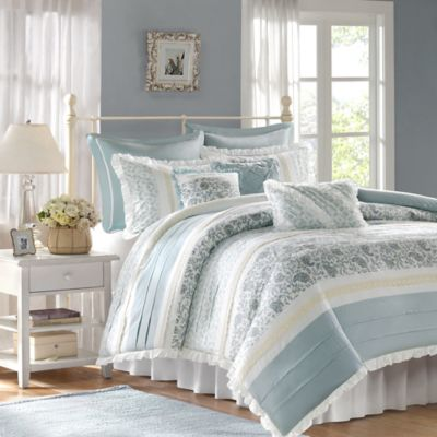 Madison Park Dawn Queen 9 Piece Duvet Set In Blue