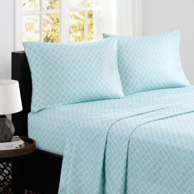 Attrayant Madison Park® Fretwork Cotton Printed Full Sheet Set In Aqua