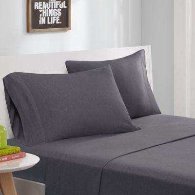 intelligent design jersey knit twin sheet set in grey - Xl Twin Bed