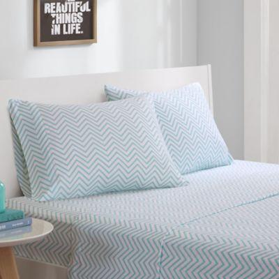 intelligent design jersey knit chevron printed full sheet set in aqua