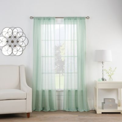 cambria terra 63inch rod pocket sheer window curtain panel in mint