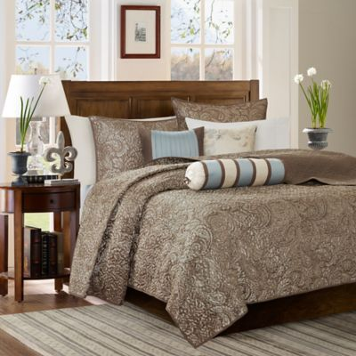 madison park aubrey quilted king coverlet set in blue