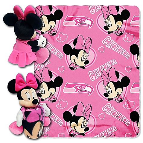 Nfl Seattle Seahawks Amp Minnie Hugger And Throw Blanket Set