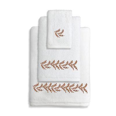Autumn Leaves Turkish Cotton Bath Towel In White/Brown