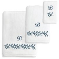 Autumn Leaves Turkish Cotton Hand Towel in White/Navy