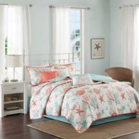 Madison Park Pebble Beach 6-Piece Full/Queen Cotton Sateen Printed Coverler Set in Coral