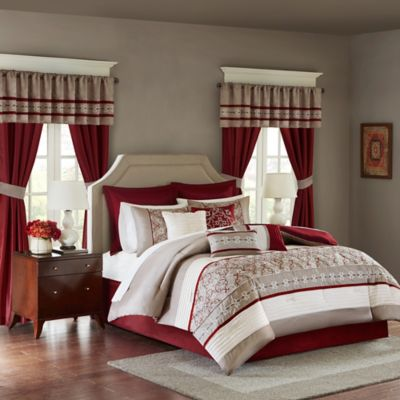 madison park essentials jelena 24piece queen complete comforter set in red