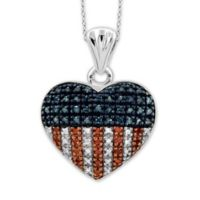 Sterling Silver .25 cttw Red, White and Blue Diamond American Heart Pendant Necklace