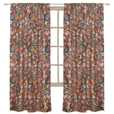 Levtex Home Alyssa 55 Inch Rod Pocket Paisley Window Curtain Panel In Beige