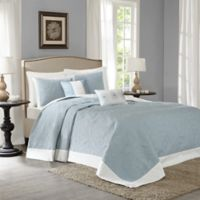 Madison Park Ashbury 5-Piece King Reversible Bedspread Set in Blue