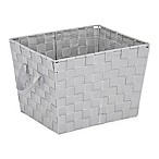 Small Woven Storage Tote in Light Grey
