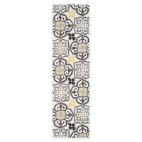 Safavieh Four Seasons Tile 2-Foot 3-Inch x 8-Foot Indoor/Outdoor Runner in Grey/Ivory