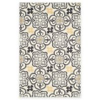 Safavieh Four Seasons Tile 3-Foot 6-Inch x 5-Foot 6-Inch Indoor/Outdoor Area Rug in Grey/Ivory
