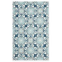 Safavieh Four Seasons Tile 5-Foot x 8-Foot Indoor/Outdoor Area Rug in Blue/Ivory