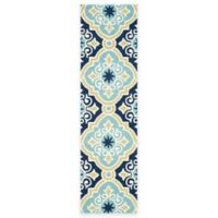 Safavieh Four Seasons Diamond Tile 2-Foot 3-Inch x 8-Foot Indoor/Outdoor Runner in Light Blue
