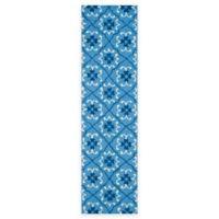 Safavieh Four Seasons Fleur 2-Foot 3-INch x 8-Foot Indoor/Outdoor Runner in Blue/Ivory