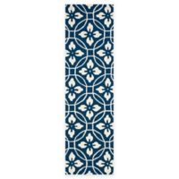 Safavieh Four Seasons Circle Floral 2-Foot 3-Inch x 8-Foot Indoor/Outdoor Runner in Navy/Ivory