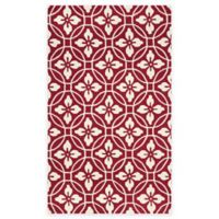 Safavieh Four Seasons Circle Floral 3-Foot 6-Inch x 5-Foot 6-Inch Indoor/Outdoor Rug in Red/Ivory