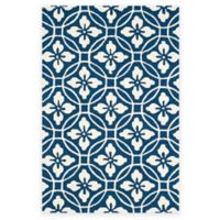 Safavieh Four Seasons Circle Floral 3-Foot 6-Inch x 5-Foot 6-Inch Indoor/Outdoor Rug in Navy/Ivory