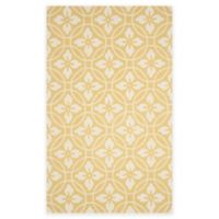 Safavieh Four Seasons Circle Floral 5-Foot x 8-Foot Indoor/Outdoor Area Rug in Gold/Ivory