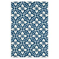 Safavieh Four Seasons Circle Floral 5-Foot x 8-Foot Indoor/Outdoor Area Rug in Navy/Ivory