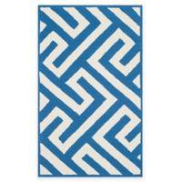 Four Seasons Maze 5-Foot x 8-Foot Indoor-Outdoor Area Rug in Ivory/Blue