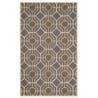 Safavieh Four Seasons Logan 5-Foot x 8-Foot Indoor/Outdoor Area Rug in Dark Grey/Ivory
