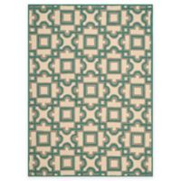 Safavieh Four Seasons Squares 4-Foot x 6-Foot Indoor/Outdoor Area Rug in Ivory/Aqua