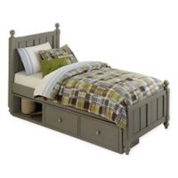 NE Kids Lake House Kennedy Twin Panel Bed with Storage in Stone