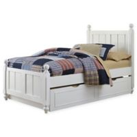 NE Kids Lake House Kennedy Twin Panel Bed with Trundle in White