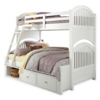 NE Kids Lake House Adrian Bunk Twin/Full Bed with Storage in White