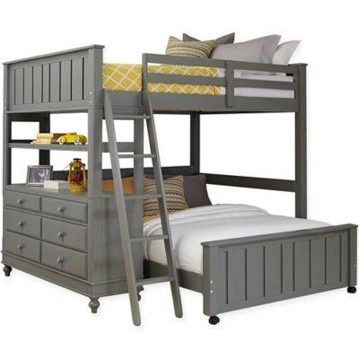 ne kids lake house loft twinfull bed in stone - Loft Twin Bed Frame