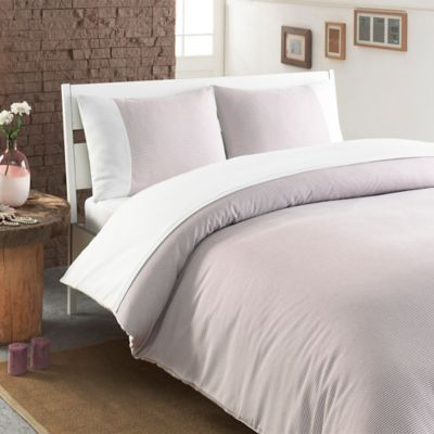 Linum Home Textiles Chevas Queen Duvet Cover In Taupe White