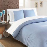 Linum Home Textiles Chevas Queen Duvet Cover in Blue/White