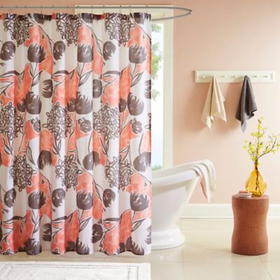 Intelligent Design Marie Printed Shower Curtain In Coral