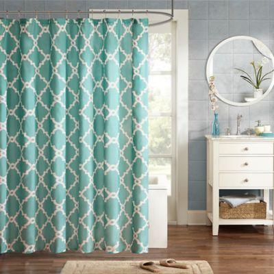 Madison Park Essentials Merritt Printed Shower Curtain in Aqua