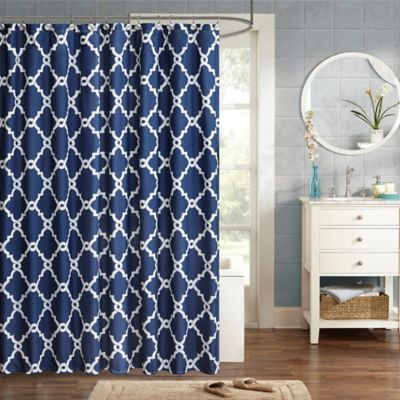 dark blue shower curtain. Madison Park Essentials Merritt Printed Shower Curtain in Navy Buy White Curtains from Bed Bath  Beyond